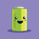 Isolated kawaii battery illustration. Isolated kawaii battery illustration for recycling movement Royalty Free Stock Photos