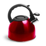 Isolated kettle red on white background clipping Stock Photo