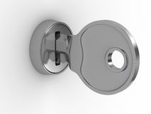 Isolated key and lock on white background. 3D image Stock Photos