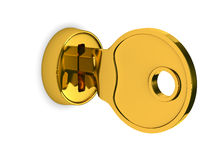 Isolated key and lock on white background. 3D image Stock Images