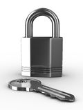 Isolated key and padlock on white background Royalty Free Stock Images