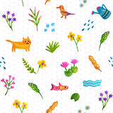 Isolated Kid Hand Drawn Seamless Pattern Vector with Pink Dot Background. Stock Photos
