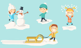 Isolated kids illustrations in winter. Stock Photos