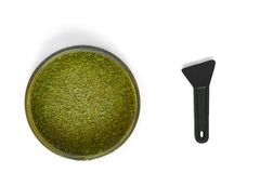 Isolated Kief in grinder for weedTrichomes buds of Cannabis macro top view. Kief in grinder for weedTrichomes buds of Cannabis macro top view Stock Image