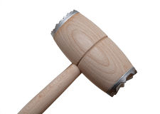Isolated kitchen hammer on white background. Wooden hammer for meat, isolated Royalty Free Stock Photos