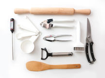 Isolated kitchenware still life. Isolated lay kitchenware still life Stock Images