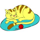 Isolated kitty pet. Funny illustration of a lovely cat sleeping. This image is isolated (white background) so you can easily integrate it in your designs vector illustration