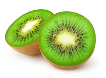 Isolated kiwi fruit cut in halves Royalty Free Stock Photography