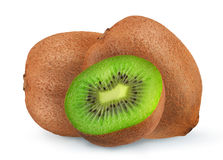 Isolated kiwi. One kiwi fruit cut in halves isolated on white background with clipping path royalty free stock photo