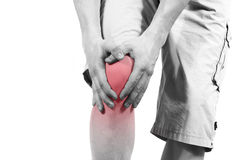 Isolated knee pain Stock Photo