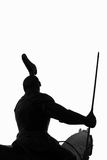 Isolated knight rider. A silhouette of an armed knight on his steed Stock Photography
