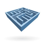 Labyrinth 3D icon illustration. Isolated illustrated small labyrinth, as mind quest, trick, problem solving and education royalty free illustration