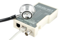 Isolated LAN tester. Isolated equipment for testing the LAN cable and stethoscope idea on white Stock Photo