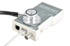 Isolated LAN tester. Isolated equipment for testing the LAN cable and stethoscope idea on white Stock Image