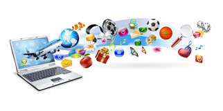 An isolated laptop has many objects Stock Images