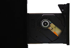 Isolated laptop with loaded DVD drive Stock Photo