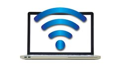 Isolated laptop and wireless network Stock Photography