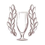 Isolated laurel wreath icon with a beer glass on white background royalty free stock photo