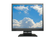 Isolated LCD with sky. Isolated LCD with bright cloudy sky on the screen , background is pure white Royalty Free Stock Photography