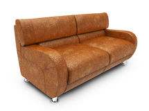 Isolated Leather Sofa. 3d model of sofa on white background Vector Illustration