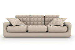 Isolated leather sofa. An interior. Royalty Free Stock Photography