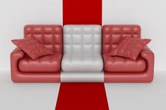 Isolated leather sofa. An interior. Stock Photos