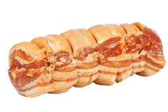 Isolated Left View of Uncooked Rolled Pork Roast on White Stock Photo