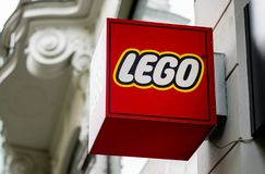 PRAGUE, CZECHIA - 12TH APRIL 2019: The red Lego logo outside the Museum and store in downtown Prague royalty free stock image