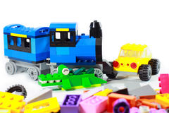 Isolated lego on white background. Toy childhood for reinforce the imagination Stock Photos