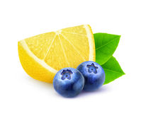 Isolated lemon and blueberries royalty free stock photo