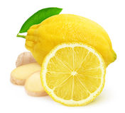 Isolated lemon fruit and ginger Royalty Free Stock Photography