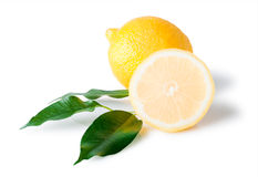 Isolated lemon with leaves Royalty Free Stock Images