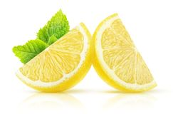Isolated lemon pieces royalty free stock photography