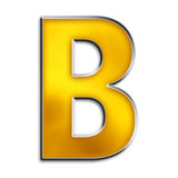Isolated letter b in shiny gold. 3d capital b in shiny yellow gold isolated on white Royalty Free Stock Photo