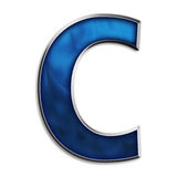 Isolated letter C in tribal blue Royalty Free Stock Image