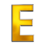 Isolated letter e in shiny gold. 3d capital e in shiny yellow gold isolated on white Royalty Free Stock Photos