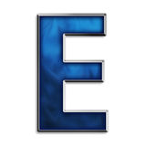 Isolated letter E in tribal blue Royalty Free Stock Images