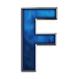 Isolated letter F in tribal blue Royalty Free Stock Image