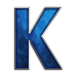 Isolated letter K in tribal blue Royalty Free Stock Images