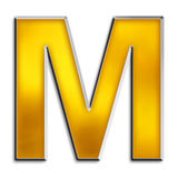 Isolated letter M in shiny gold. 3d capital M in shiny yellow gold isolated on white Stock Photography