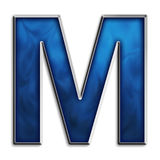 Isolated letter M in tribal blue Stock Image