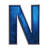 Isolated letter N in tribal blue. Capital N in steel smokey blue isolated on white Royalty Free Stock Image