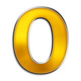 Isolated letter O in shiny gold. 3d capital O in shiny yellow gold isolated on white Royalty Free Stock Images