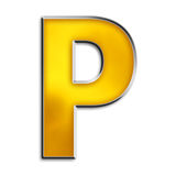 Isolated letter P in shiny gold. 3d capital P in shiny yellow gold isolated on white Royalty Free Stock Photo
