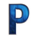 Isolated letter P in tribal blue Royalty Free Stock Photos