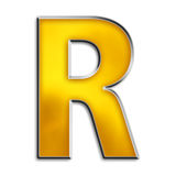 Isolated letter R in shiny gold. 3d capital R in shiny yellow gold isolated on white Stock Photos