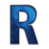 Isolated letter R in tribal blue Royalty Free Stock Photo
