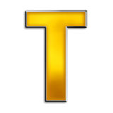 Isolated Letter T In Shiny Gold Royalty Free Stock Images