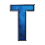 Isolated letter T in tribal blue. Capital T in steel smokey blue isolated on white Stock Image