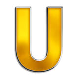 Isolated letter U in shiny gold Stock Photos